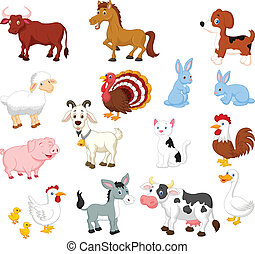 boerderij, set, dier, verzameling