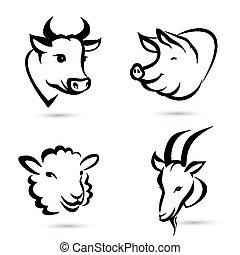boerderij, set, dieren, iconen