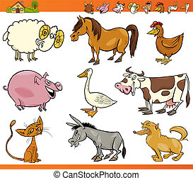 boerderij, set, dieren, spotprent, illustratie