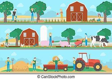 boerderij, set., illustratie