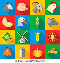 boerderij, set, stijl, iconen, plat