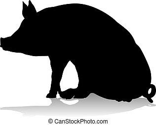 boerderij, silhouette, dier, varken