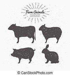 boerderij, silhouettes, set, dieren