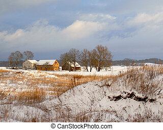 boerderij, sneeuw, eerst