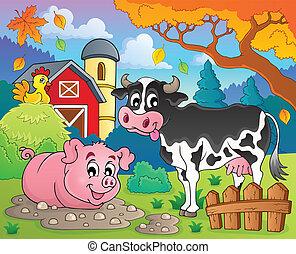 boerderij, thema, 2, dieren, beeld