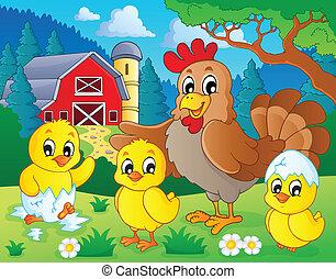 boerderij, thema, dieren, beeld, 7