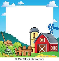 boerderij, thema, frame, 1
