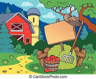 boerderij, thema, meldingsbord