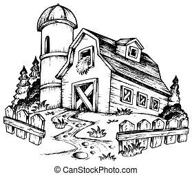 boerderij, thema, tekening, 1