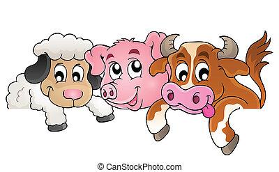boerderij, topic, beeld, 1, dieren