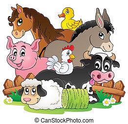 boerderij, topic, beeld, 2, dieren