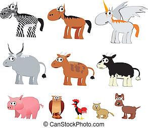 boerderij, vector, dieren, spotprent