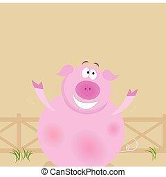 boerderij, vrolijke , animals:, varken