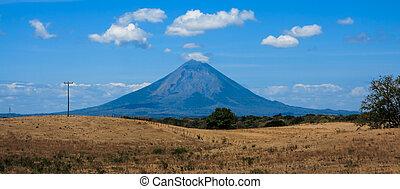 boerderij, vulkaan, ontvangenis, velden