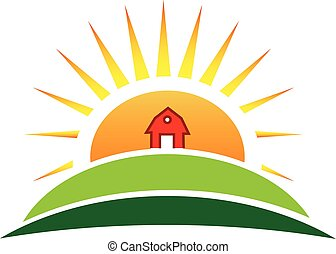 boerderij, zon, landbouw, logo