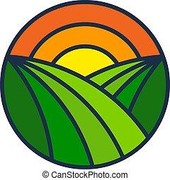 boerderij, zon, ontwerp, logo, pictogram