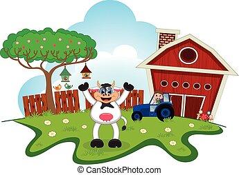 boerderij, zwaaiende , spotprent, koe