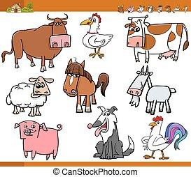 boerderijdieren, illustrati, set, spotprent