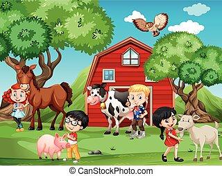 boerderijdieren, kinderen