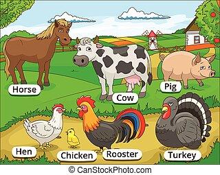 boerderijdieren, met, namen, spotprent, onderwijs