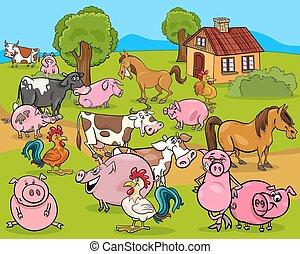boerderijdieren, spotprent, illustratie
