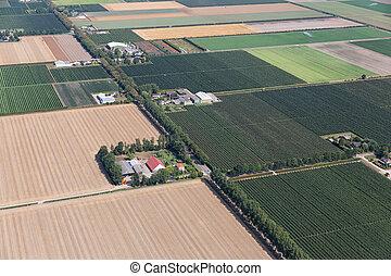 boerderijen, luchtopnames, polder, hollandse,...