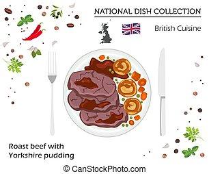 boeuf, collection., national, isolé, britannique, yorkshire, infographic, cuisine., rôti, blanc, plat, pudding, européen