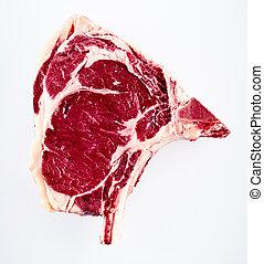 boeuf, de, boeuf, cru, unique, cote, bifteck
