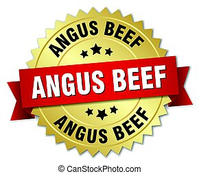 boeuf, or, angus, isolé, écusson, rond