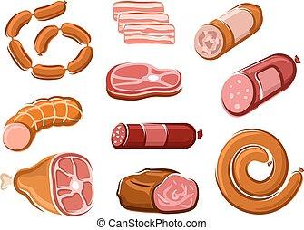 boeuf, saucisses, lard, rôti, jambon, bifteck