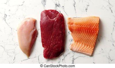 boeuf, saumon, filet, bifteck, cru, poitrine, poulet frais
