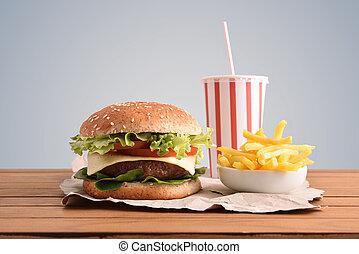 boeuf, soude, gris, hamburger, backgorund, table, chips