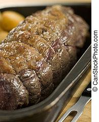 boeuf, topside, pommes terre, britannique, rôti, plateau