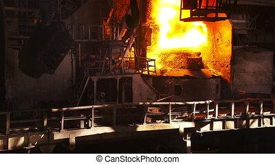 BOF shop floor - Hot steel pouring in steel plant