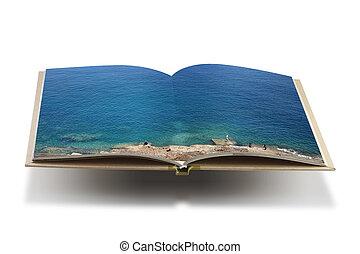 bog, baggrund, åbn, hvid, havet