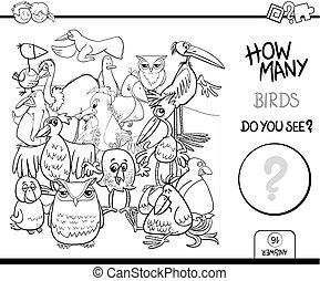 bog, coloring, optælling, fugle, aktivitet