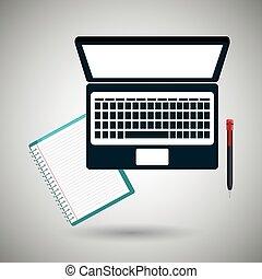 bog, computer, konstruktion, isoleret, ikon