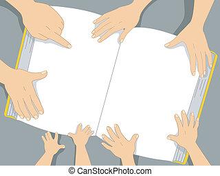 bog, familie, baggrund, hænder
