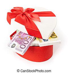 bog, gåva, pengar boxa, hjärta