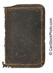 bog, gamle, grov, afdækket, læder