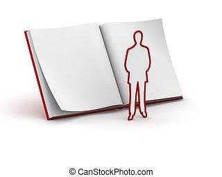 bog, karakter, eller, manuskrift
