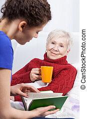 bog, læsning, granddaughter