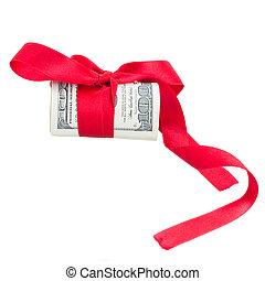 bog, rulle, dollars, röd