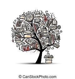 bog, træ, skitse, by, din, konstruktion