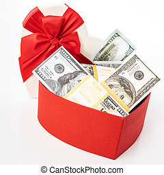 bog, vit, gåvan boxas, knippe, hjärta, dollars, isolerat