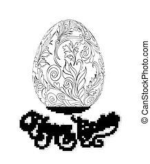 bog, zentangle, children., voksen, hånd, mønster, vektor, ældre, coloring, drawing., udkast, card., skabelon, page., lavede, illustration., style., påske ægg