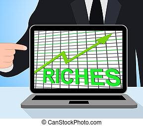 bogactwo, dochód, wykres, bogactwa, gotówka, wykres, wzrastać, wystawy