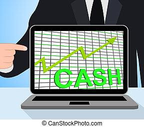 bogactwo, wykres, wykres, gotówka, wzrastać, waluta, wystawy, pieniądze