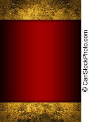 bogaty, wstążka, złoty, tło, czerwony
