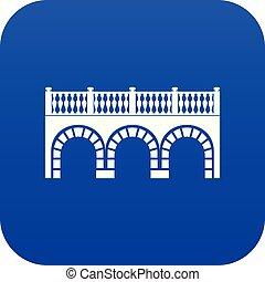 bogenbrücke, ikone, blaues, vektor